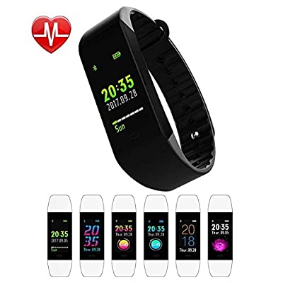 Fitness Tracker, Bulanuo Color Screen with 6 Changable UI Interface Activity Tracker, Heart Rate Blood Pressure Pedometer Smart Bracelet Wristband with Super Long Standby for Android and iOS