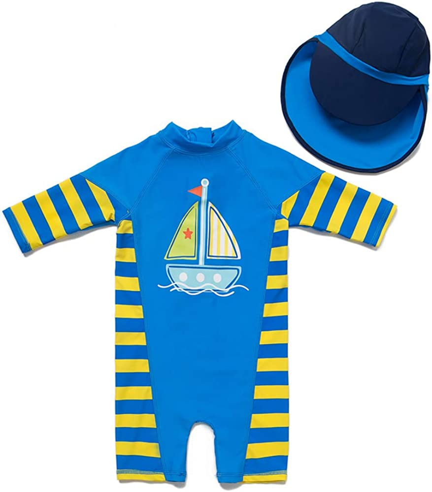 Kids Baby Boys Zip-up One Piece Beach Swimsuit Sun Protection with Sun Hat Quick Dry