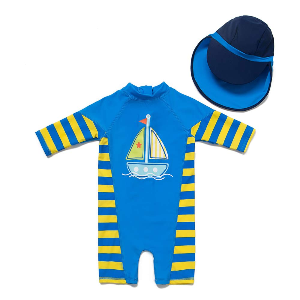 upandfast Baby/Toddler One Piece Zip Sunsuits with Sun Hat UPF 50+ Sun Protection Infant Beach Swimsuit (Sailboat, 3-6 Months) by upandfast