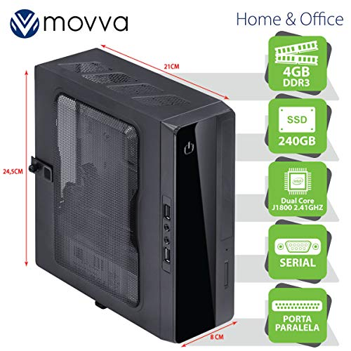 MINI COMPUTADOR LITE INTEL DC J1800 2.41GHZ MEM. 4GB SSD 240GB 1X PORTA PARALELA 1X PORTA SERIAL - FONTE 130W - LINUX - MOVVA