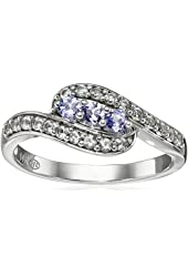 14k White Gold Tanzanite and Created White Sapphire Ring, Size 7