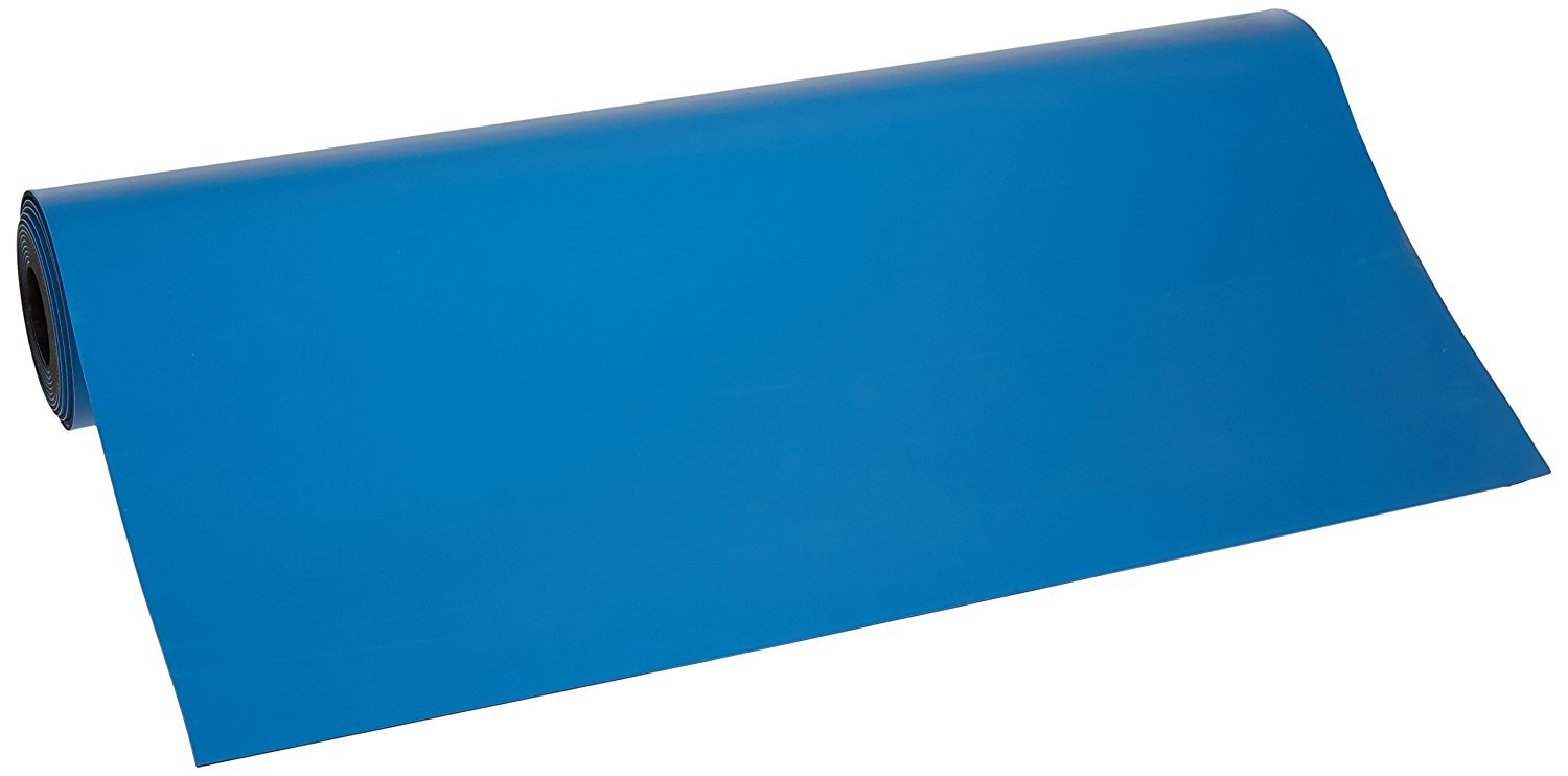 Bertech ESD Two Layer Rubber Mat Roll, 2.5' Wide x 33' Long x 0.06'' Thick, Blue