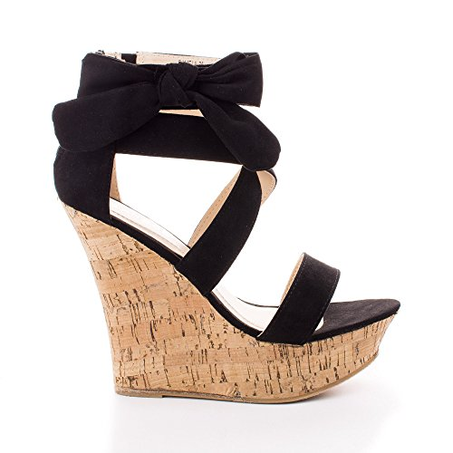 Ankle Wrap Wedge (Pamela 75 Black Strappy Wrap Ankle Bow Platform High Wedge Sandals-6.5)