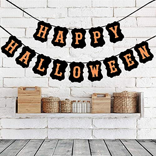 Decorated Cardboard Party Flags Handmade Happy Halloween Bunting Banner Garland Hanging Signs Vintage Halloween Party Home Decoration Supplies -