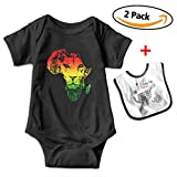 Leopoldson Africa Map and Rasta Lion Baby Short Sleeve Bodysuits One-Piece with Baby Bib