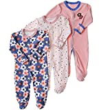 Baby Footed Pajamas with Mittens - 3 Pcs Infant