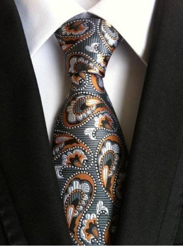 New Classic Paisley Grey Orange White JACQUARD WOVEN Silk Men's Tie Necktie