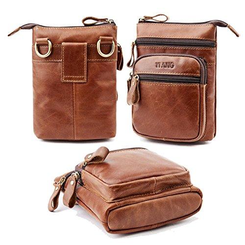 piel auténtica bolsa de cintura, AOLVO vertical teléfono celular Holster Cintura/mochila para hombre, cinturón para hombre...