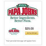 "Papa John's eGift Cards can be given to anyone who loves great tasting pizza! Perfect gift for ""hard to buy for"" people on your shopping list. No expiration and no service fees."