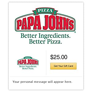 papa john gift card amazon com papa john s pizza gift cards e mail delivery 5419