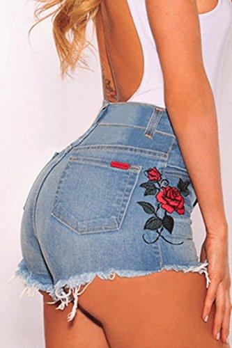 Di In Blu Fanvans Pantaloncini Tratto Jeans Alto Donne Ricamata Magro 8qOqzvn4