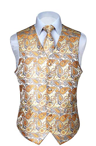 HISDERN Men's Paisley Floral Jacquard Waistcoat & Neck Tie and Pocket Square Vest Suit Set (Classic Chest Pocket Vest)