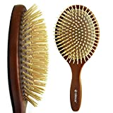 Rolencos Professional Natural Wooden Bristle Detangling Hair Brush Large