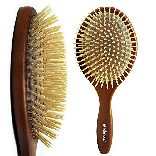 Rolencos Professional Natural Wooden Bristle Detangling Hair Brush Large ()