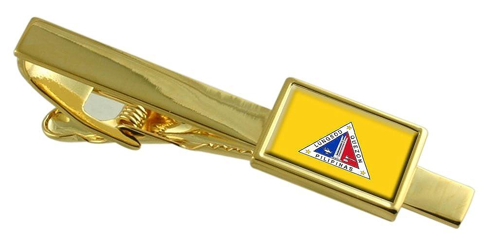 Quezon City City Philippines Flag Gold-tone Tie Clip