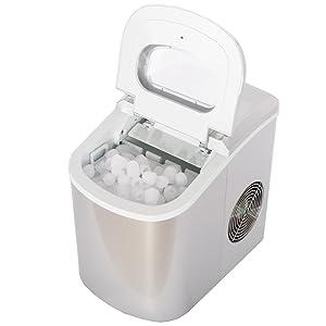 SMETA Portable Compact Ice Maker Machine Counter Top Produce 26lb/day,Silver