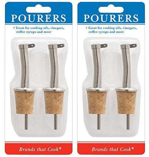 HIC Harold Import Co. 5505C Hic Set of 4 Pourers with Cork Bottom for Oils, Vinegars, Syrups and More. by HIC Harold Import Co.