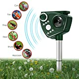 FOCUSPET Solar Ultrasonic Animal Repellent, Solar Powered Repeller, Adjustable Waterproof Outdoor Repellent with Motion Activated PIR Sensor, Repel Dogs, Cats, Squirrels and more