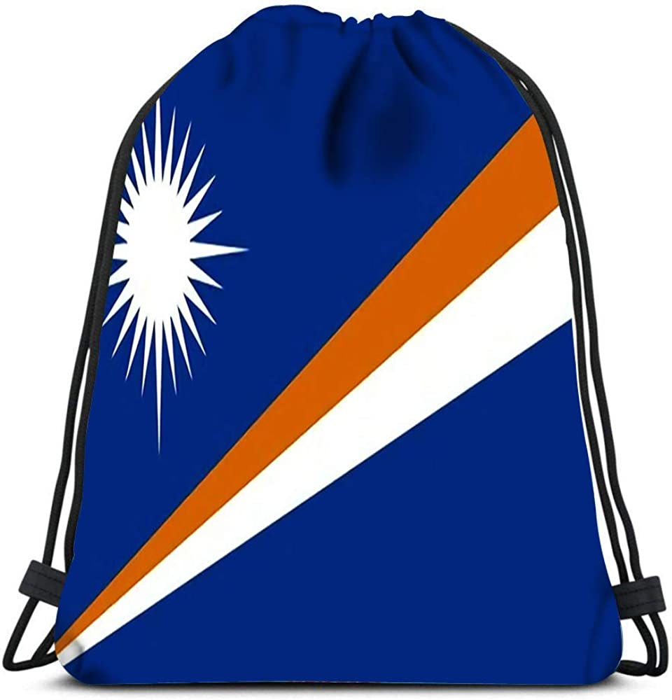 Drawstring Backpack Sport Bags Cinch Tote Bags Flag in Colors of Marshall Islands for Traveling and Storage