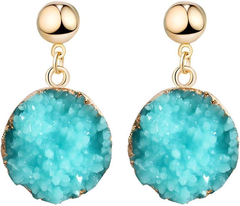 Kaned - Pendientes Redondos de imitación con Piedra Natural geométrica, Azul Celeste, As Show
