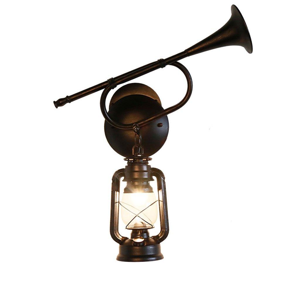 Wandleuchte Eisen Wandleuchte, American Retro Lautsprecher Wandleuchte, kreative Schmiedeeisen Restaurant Gang antike klassische Kerosin Licht Größe-50x65cm Dekorative leuchten beleuchtung leuchte