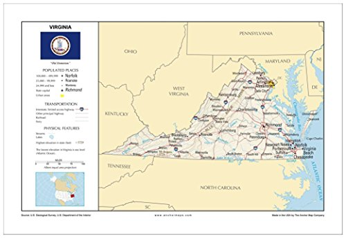13x19 Virginia General Reference Wall Map - Anchor Maps USA Foundational Series - Cities, Roads, Physical Features, and Topography [ROLLED] by Anchor Maps (Image #1)