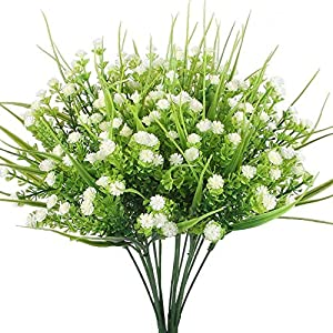 CATTREE Artificial Plants, 4pcs Faux Baby's Breath Fake Small Flowers Gypsophila Shrubs Simulation Greenery Bushes Wedding Centerpieces Table Floral Arrangement Bouquet Filler 3