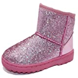 Elcssuy Girls Boots Warm Sequin Comfy Cute Waterpoof Outdoor Glitter Snow Boots Bootie Slippers Pink,8 Toddler