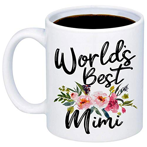 MyCozyCups Gift For Grandma - Worlds Best Mimi Coffee Mug - Cute Funny 11oz Cup For Your Grandmother, Meme From Granddaughter, Grandson For Christmas, Birthday, Retirement, Mother's Day - Mimi ()