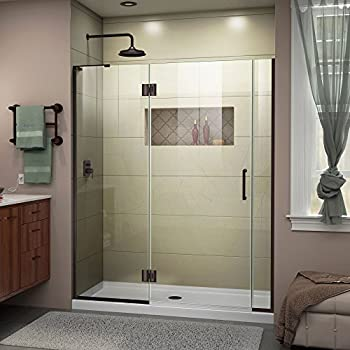 DreamLine Unidoor-X 58-58 1/2 in. Width Frameless Hinged & VIGO Pirouette 30 to 36-in. Frameless Shower Door with .375-in ...