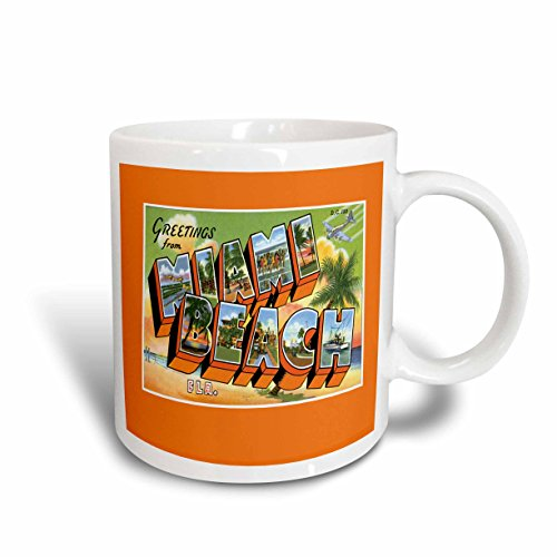 (3dRose 169758_2 Greetings Beach Florida Bold Letters with Scenes from Miami Ceramic Mug, 15 oz, White)