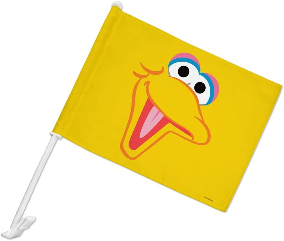 GRAPHICS /& MORE Sesame Street Big Bird Face Car Truck Flag with Window Clip On Pole Holder