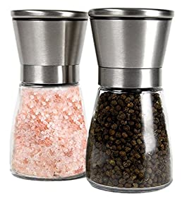 Premium Stainless Steel Salt and Pepper Grinder Set of 2 - Brushed Stainless Steel Pepper Mill and Salt Mill, Tall Glass Body 4 Oz, Adjustable Ceramic Rotor - Salt and Pepper Shaker Set By YAMO