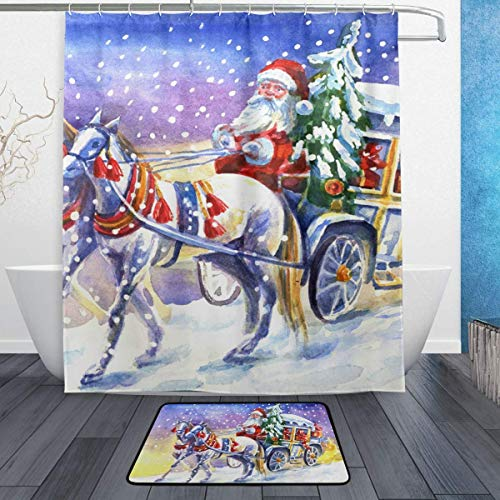 SZZWY Santa Claus with Horse Background Pattern Shower Curtain Set 3D Printing Waterproof Coated Polyester Fabric Bathroom with 12 Hooks 71 inches Indoor Floor Mat Bath Rugs 60x40cm