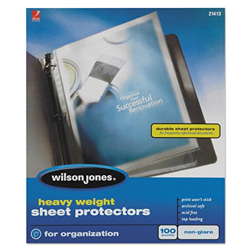 Wilson Jones Sheet Protectors, Heavy Weight, Top-Loading, Non-Glare, 100 Sheets/Box (W21413) ()