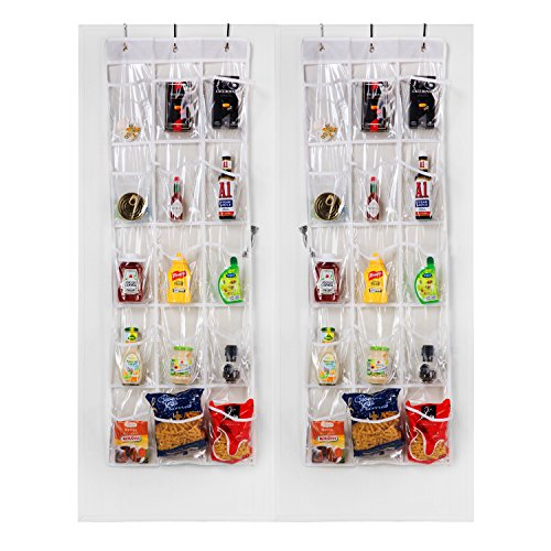 "Meldarin Crystal Clear Over The Door Hanging Pantry Organizer 15 Pockets (52""x18"") -2 Pack"