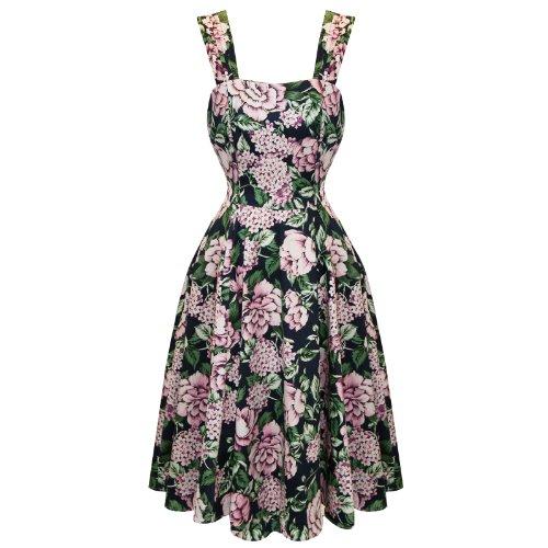 Hearts and Roses London Ensorcelant foncé Floral 50s Style Vintage Idéale Pour Le Thé / Fête Robe Excellent Qualité