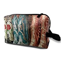 Portable Waterproof Travel Cosmetic Bag - Colorful Cowboy Boots Illustration Lady Makeup Organizer Clutch Bag with Zipper - Travel Toiletry Storage Pouch Pencil Holder