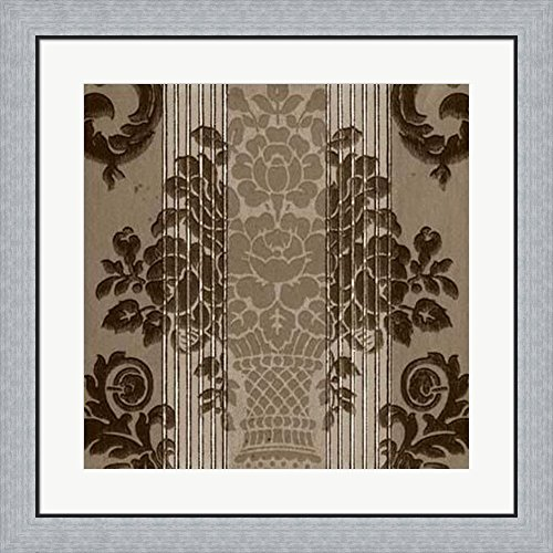 - Vintage Wallpaper I Framed Art Print Wall Picture, Flat Silver Frame, 28 x 28 inches