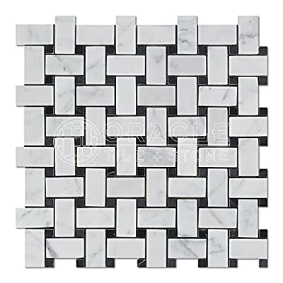 Carrara White Italian (Bianco Carrara) Marble Basketweave and Large Basketweave Mosaic Tile, Honed by Oracle Tile & Stone