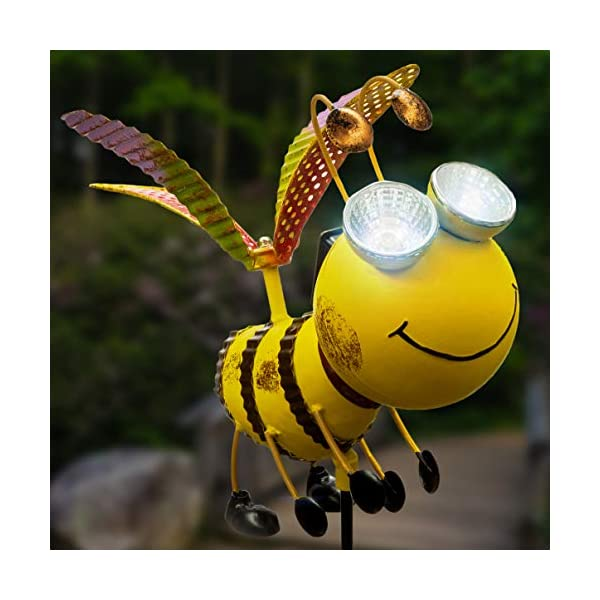 Solar Garden Stake Lights – Bee with Solar Light Eyes and Rotating Wings – Outdoor Lawn Decor Garden Decoration, Yard Art Décor, Lawn Ornament – Unique Gift – Stake 43″ High | Bee 9″ Long