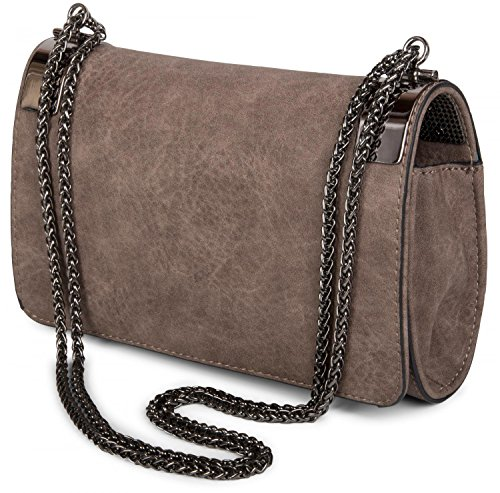 styleBREAKER Color Dark chain evening plain dark Old clasp and Rose coil Antique design 02012046 Grey ladies vintage clutch metal with bag rCr6zZ