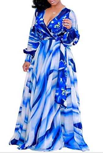 Impression Numérique Manches Longues Col V Robe De Soirée Swing Vogue De Motif1 Des Femmes Coolred