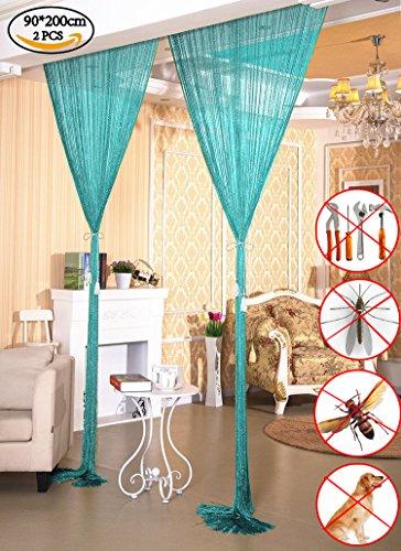 AIZESI 35 x 78.5inch Door String Curtain Panel, Fly Screen Curtain Doorway Tassel for Wedding,Bedroom,Living Room,Coffee House, Restaurant,Blue-2PCS ()