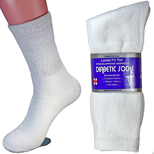 LM® 12 Pairs Diabetic Crew Socks Unisex 9-11, 10-13, 13-15 Black Grey White (10-13, White)
