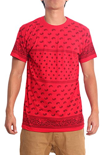 Victorious Block Bandana Print T-Shirt TS961 - RED - Medium - B5F