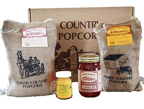 Amish Country Popcorn -4 Lb Burlap Gift Set (2 Lb each) Medium White & Yellow Popping Corns, 4.5 Oz Ballpark Style ButterSalt, 16 Ounce Canola Oil- With Recipe Guide