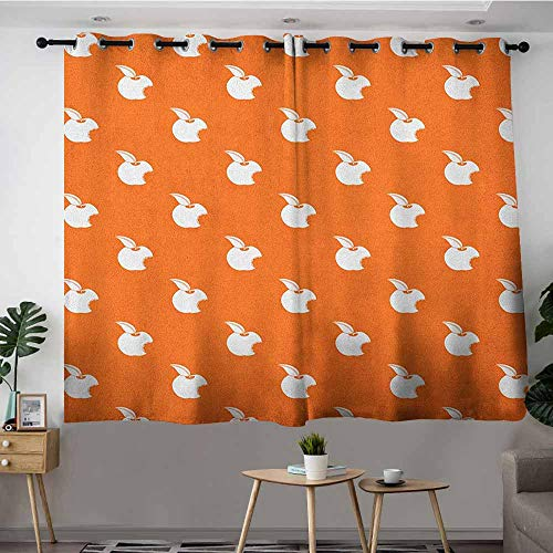 DGGO Waterproof Window Curtains,Apple Bitten Fruit Pattern on Abstract Orange Background Vitamin Source Nutritious Apple,for Bedroom Grommet Drapes,W63x63L Orange White