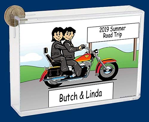 Personalized NTT Cartoon Side Slide Frame Gift: Motorcycle Lover Couple Gift, Motorcycle Lover, Motorcycle Rider, Honda, Harley, Suzuki, Yamaha
