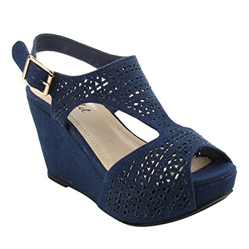 - Bonnibel FJ01 Women's Platform Wedge Heel Cut Out Sling Back Sandals Blue